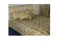 Luxury Black Gold Floral Quilted Bedspread UK