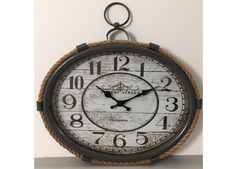 Industrial Style Clock in Wood and Metal with Rope in UK